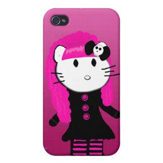 Caso gótico del iPhone del gatito iPhone 4 Funda