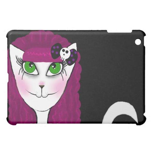 Caso gótico rosado del iPad del gato
