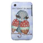 Caso gruñón caprichoso del iPhone 3/3GS del búho Case-Mate iPhone 3 Carcasas