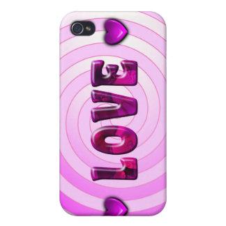 Caso hipnótico del iPhone 4 del amor iPhone 4 Protectores