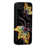 Caso increíble del iPhone 4 del negro de la maripo Case-Mate iPhone 4 Carcasas