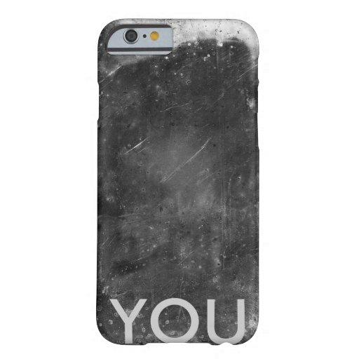 Caso inicial con textura del metal funda de iPhone 6 barely there