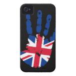Caso intrépido BRITÁNICO de Handprint Blackberry 9 iPhone 4 Cobertura