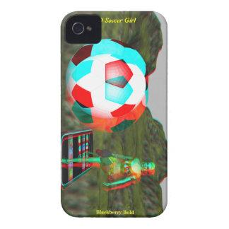 Caso intrépido del chica del fútbol 3D de iPhone 4 Case-Mate Protectores
