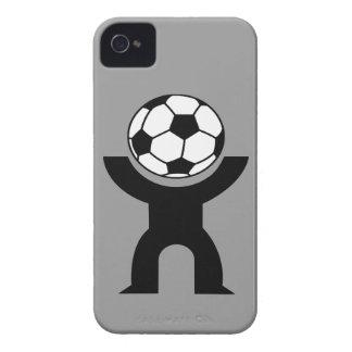 Caso intrépido del individuo del fútbol de Blackbe iPhone 4 Case-Mate Cárcasas