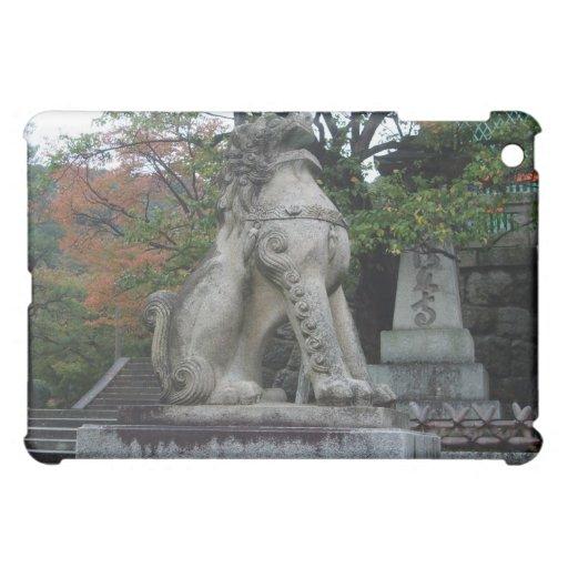 Caso japonés del iPad de la estatua del templo del