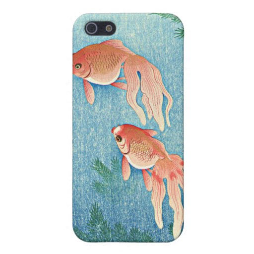 Caso japonés del iPhone 4 del arte del Goldfish. H iPhone 5 Protectores