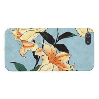 Caso japonés del iPhone 5 de los lirios de Hokusai iPhone 5 Carcasas