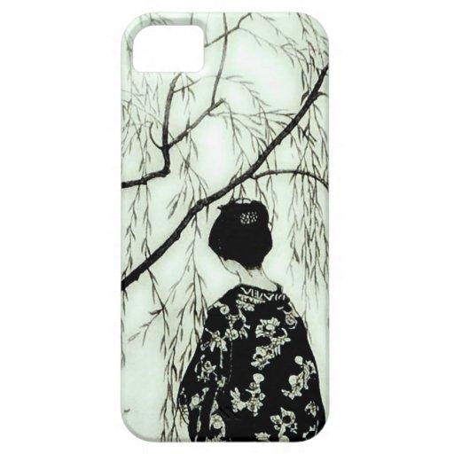 Caso japonés del iPhone de la mujer del árbol en c iPhone 5 Cárcasa