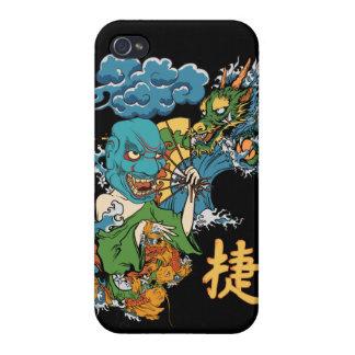 Caso japonés del iPhone del dragón de la máscara d iPhone 4 Carcasa