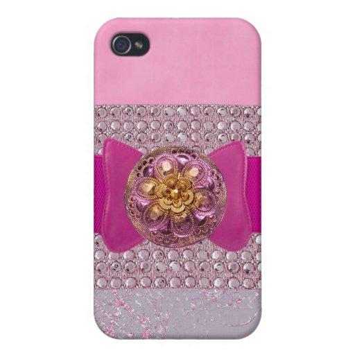caso jeweled y falso I del teléfono del diamante a iPhone 4 Fundas