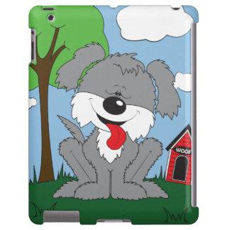 Caso lanudo del dibujo animado del perrito funda para iPad