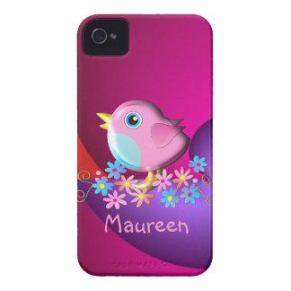 Caso lindo del iPhone 4 con el pájaro y el nombre Funda Para iPhone 4 De Case-Mate
