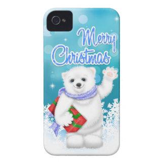 Caso lindo del iPhone 4 del oso polar del navidad iPhone 4 Protectores