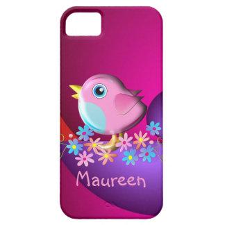 Caso lindo del iPhone 5 con el pájaro y el nombre Funda Para iPhone SE/5/5s