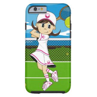 Caso lindo del iPhone 6 del chica del tenis Funda De iPhone 6 Tough