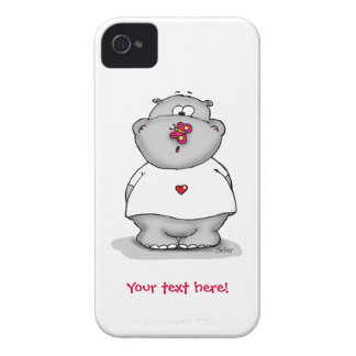 Caso lindo del iphone con el hipopótamo y la Case-Mate iPhone 4 coberturas