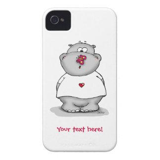 Caso lindo del iphone con el hipopótamo y la marip iPhone 4 carcasas