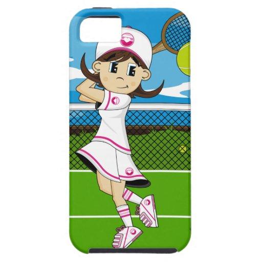 Caso lindo del iphone del chica del tenis iPhone 5 funda