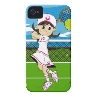 Caso lindo del iphone del chica del tenis iPhone 4 carcasas
