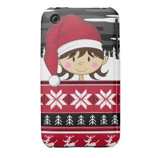Caso lindo del iphone del duende del navidad iPhone 3 Case-Mate cárcasa