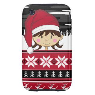 Caso lindo del iphone del duende del navidad tough iPhone 3 cárcasas