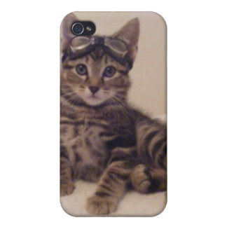 caso lindo del iphone del gatito del tabby iPhone 4/4S fundas
