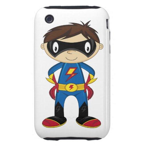Caso lindo del iphone del muchacho del super héroe tough iPhone 3 protector