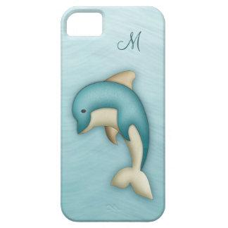Caso lindo del monograma del delfín funda para iPhone SE/5/5s