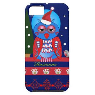 Caso lindo del navidad con el búho y el nombre del iPhone 5 Case-Mate fundas