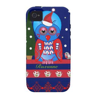 Caso lindo del navidad con el búho y el nombre del Case-Mate iPhone 4 fundas