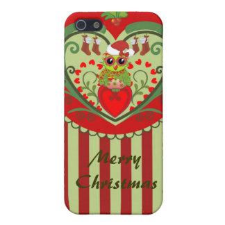 Caso lindo del navidad con el búho y el texto del  iPhone 5 funda