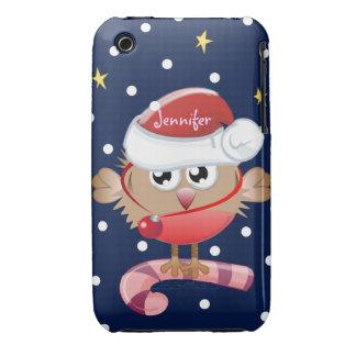 Caso lindo del navidad con el pájaro y el nombre Case-Mate iPhone 3 carcasa