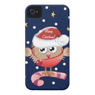Caso lindo del navidad con el pájaro y el texto Case-Mate iPhone 4 fundas