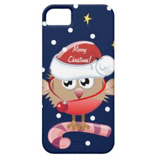 Caso lindo del navidad con el pájaro y el texto iPhone 5 fundas