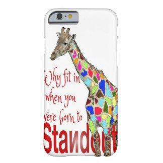 Caso lindo destacado del iPhone 6 de la jirafa Funda De iPhone 6 Barely There
