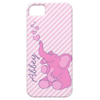 Caso lindo nombrado del iphone 5 del elefante rosa iPhone 5 Case-Mate cobertura