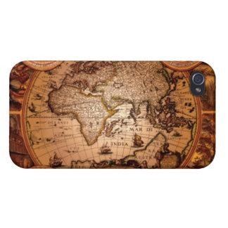 Caso listo del iPhone 4 del mapa de Viejo Mundo de iPhone 4 Fundas