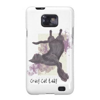 Caso loco de señora Samsung Galaxy S2 del gato Samsung Galaxy SII Fundas