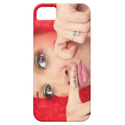 Caso loco del iPhone 5 del chica del bigote del ta iPhone 5 Case-Mate Funda