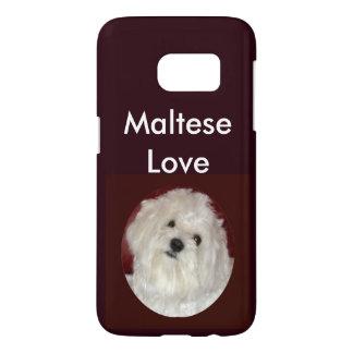 Caso maltés del iPhone del amor S7 en Borgoña/el Funda Samsung Galaxy S7