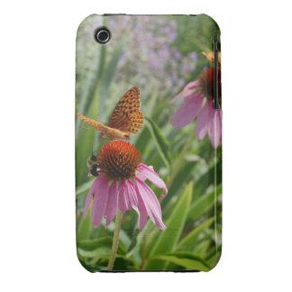 caso, mariposa y abeja del iphone en la flor iPhone 3 funda