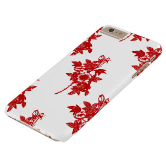 Caso más 6 Florales-iPhone rojos y blancos Funda Barely There iPhone 6 Plus