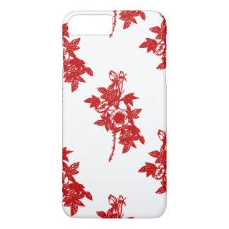Caso más 6 Florales-iPhone rojos y blancos Funda iPhone 7 Plus
