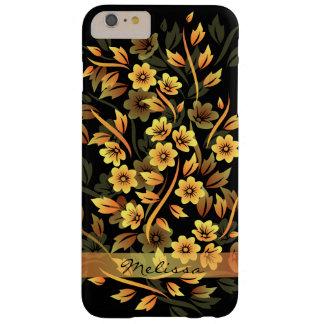 Caso más del iPhone 6 bonitos florales del negro y Funda De iPhone 6 Plus Barely There