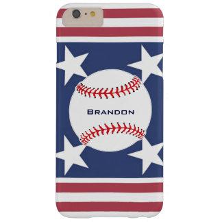 Caso más del iPhone 6 del diseño del béisbol Funda De iPhone 6 Plus Barely There
