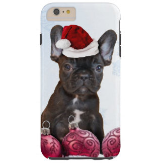 Caso más del iPhone 6 del dogo francés del navidad Funda De iPhone 6 Plus Tough
