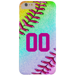 Caso más del iPhone 6 del softball con número del Funda De iPhone 6 Plus Barely There
