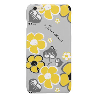 Caso más del iPhone 6 florales amarillos y grises