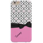 Caso más del iPhone 6 negros, blancos, y rosados Funda De iPhone 6 Plus Barely There